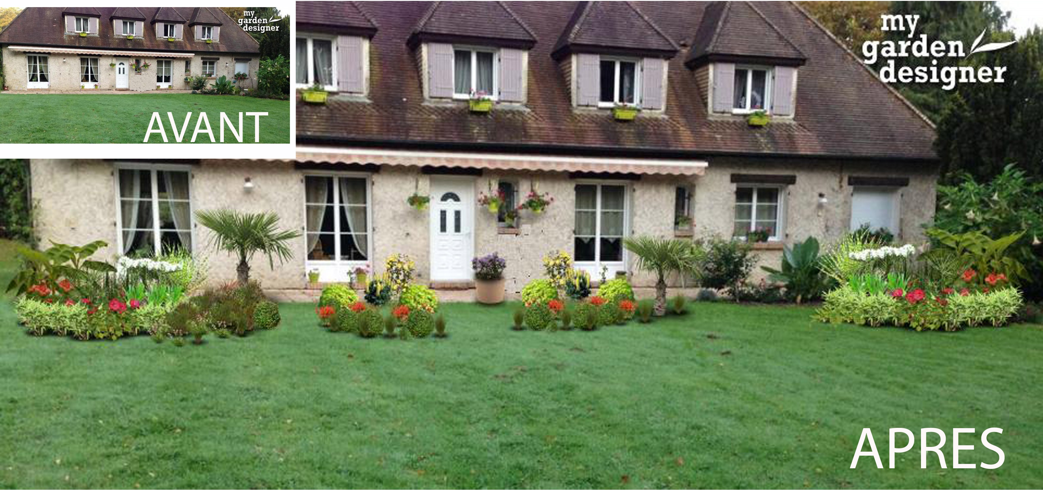 Amenagement d un jardin devant une maison monjardin for Amenagement d un jardin