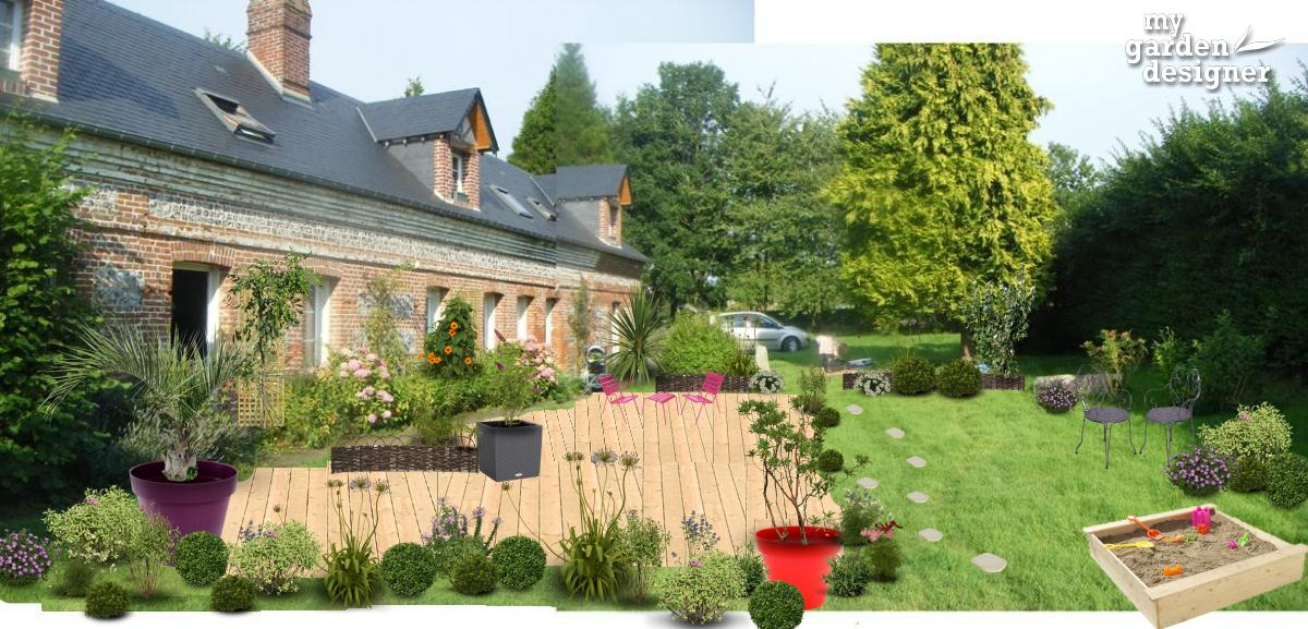 am nagement paysager du jour une long re normande et sa terrasse au naturel monjardin. Black Bedroom Furniture Sets. Home Design Ideas