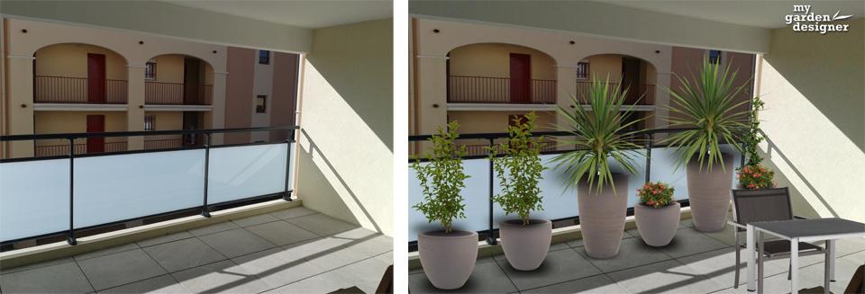 une terrasse contemporaine et cach e du voisinage monjardin. Black Bedroom Furniture Sets. Home Design Ideas