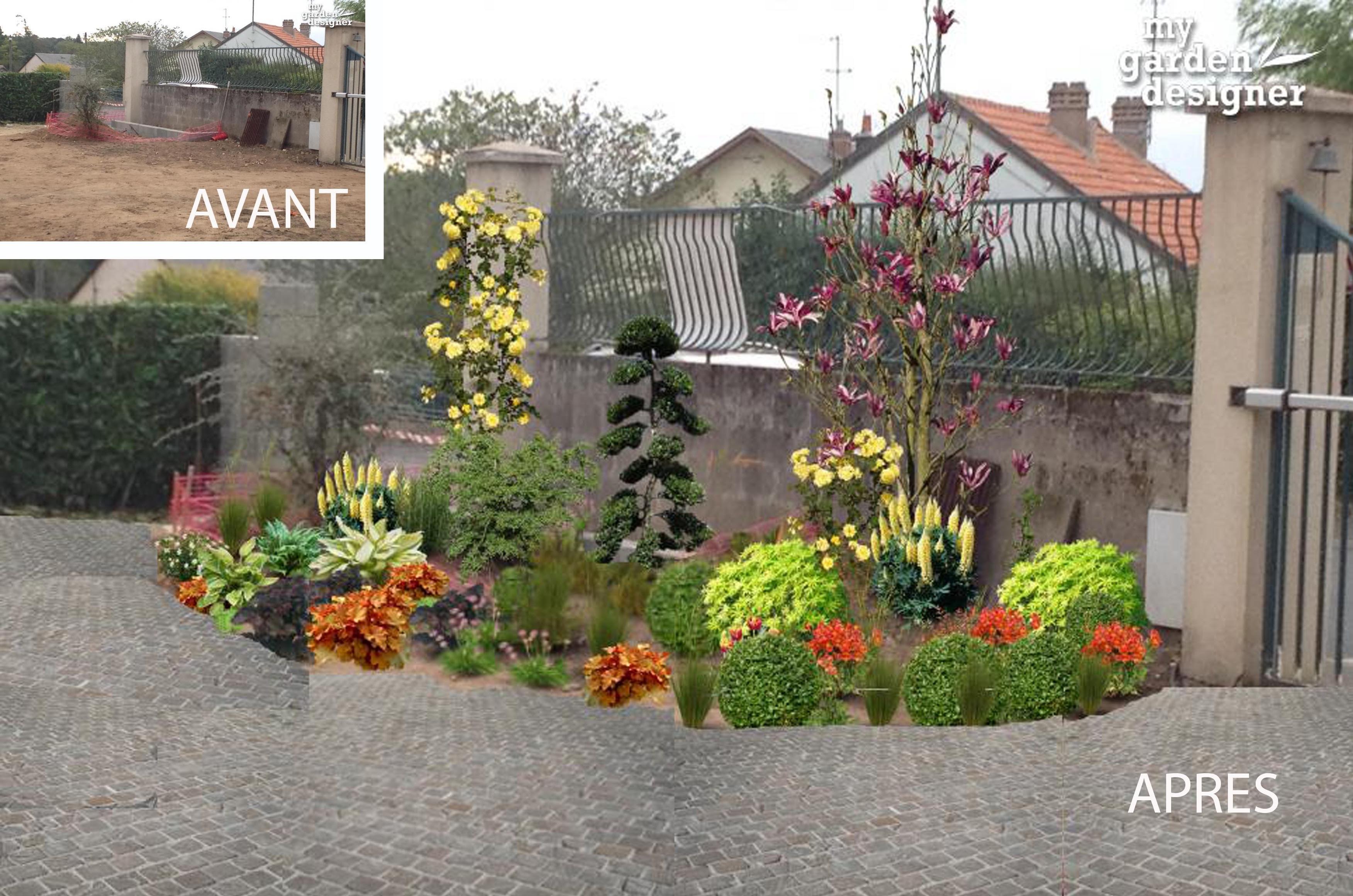 Am nagement de l entr e d un jardin classique monjardin for Amenagement jardiniere exterieure