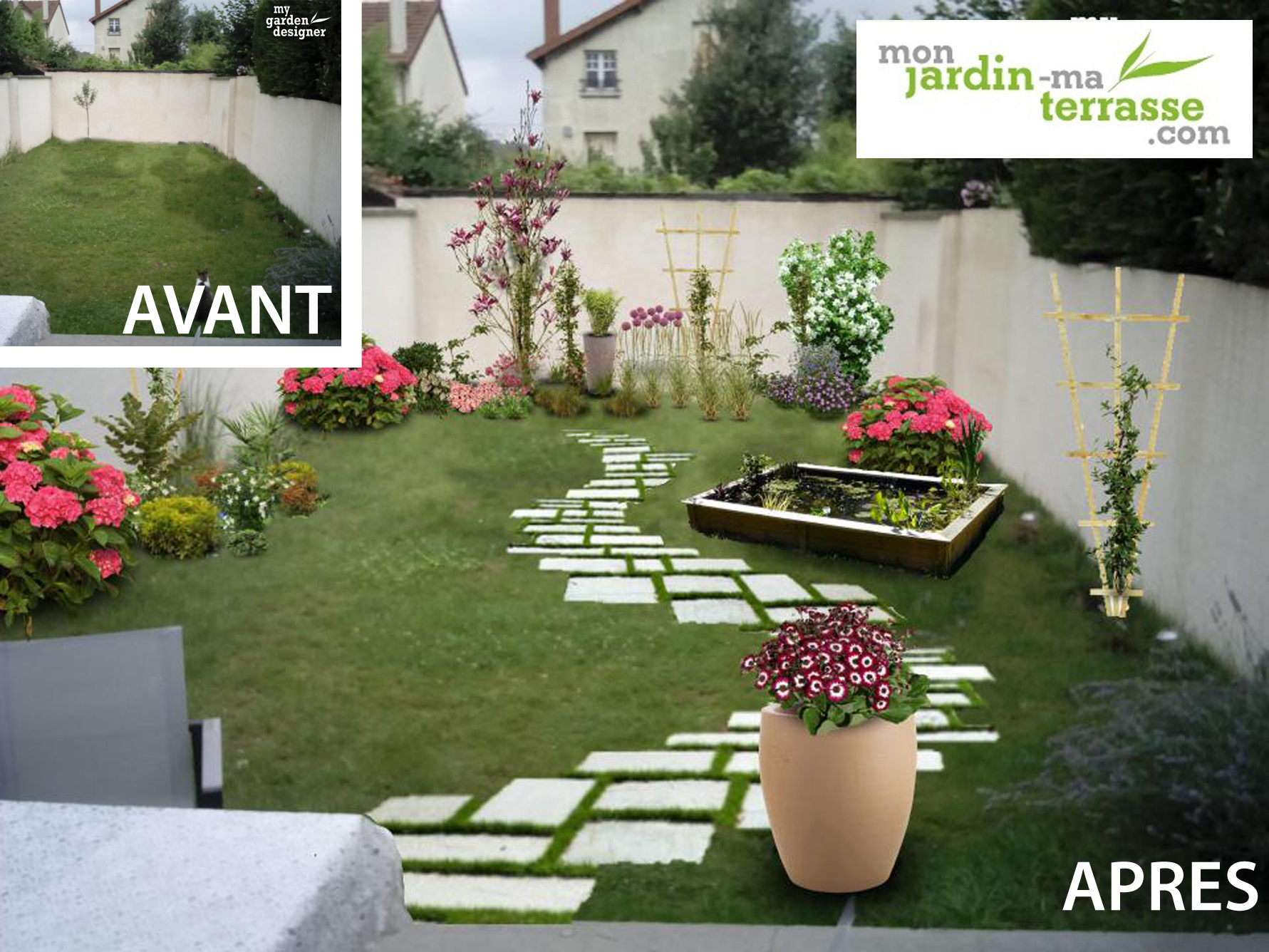 Am nager un rez de jardin en longueur monjardin for Modele amenagement jardin