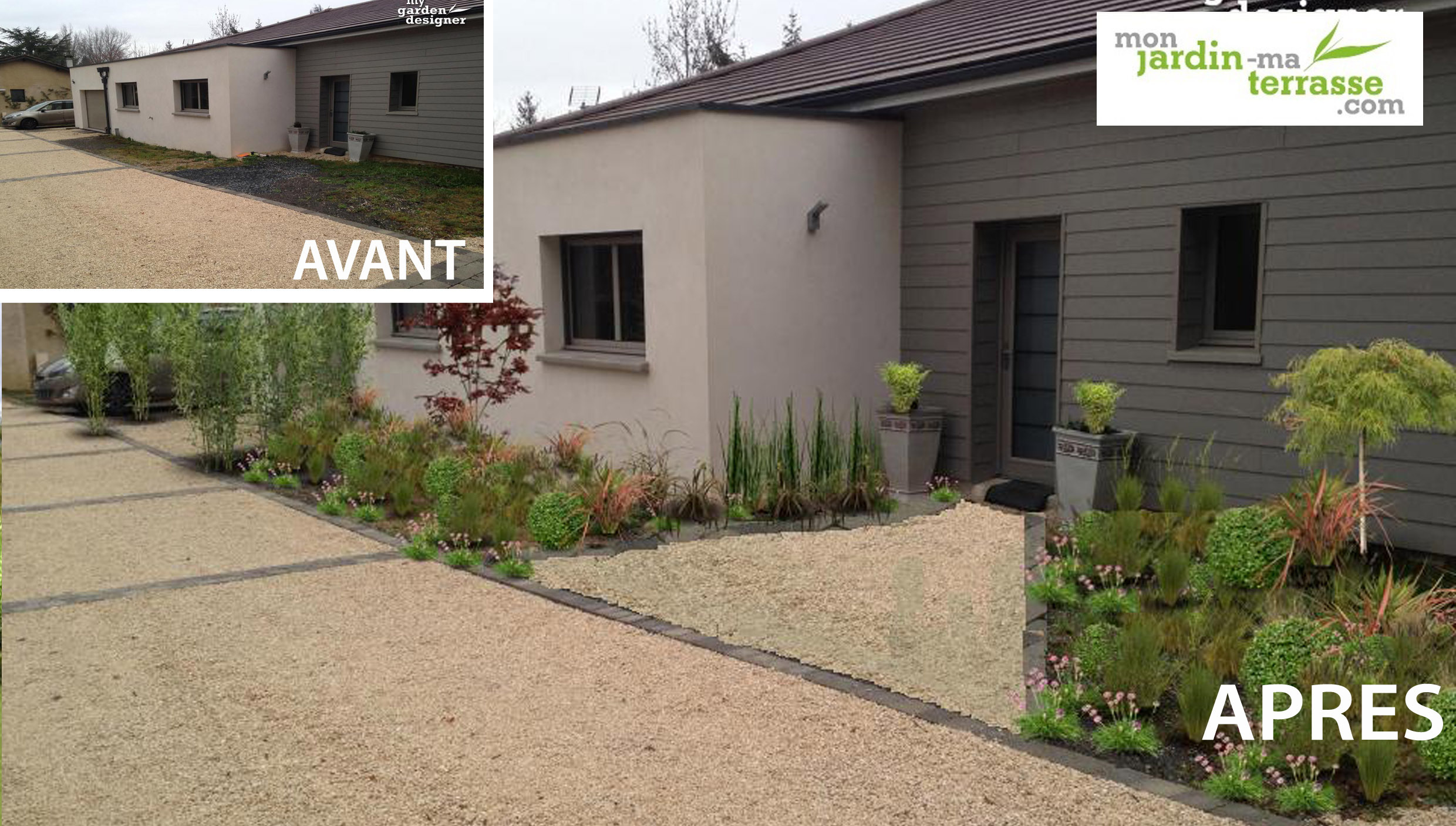 Am nagement du jardin de l entr e d une maison - Amenagement terrasse et jardin photo ...
