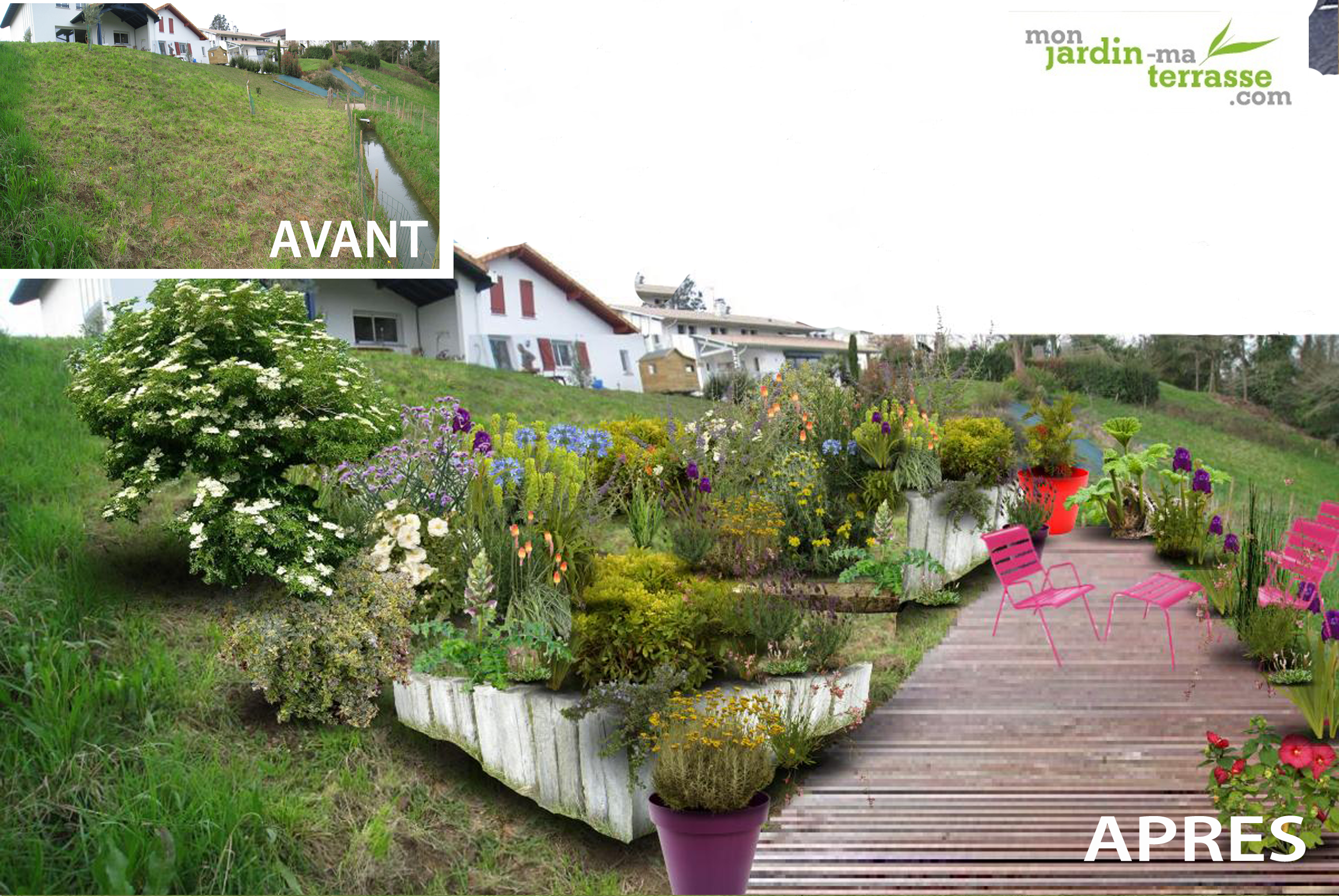 Am nagement d un terrain en pente monjardin for Amenagement exterieur entree maison en pente