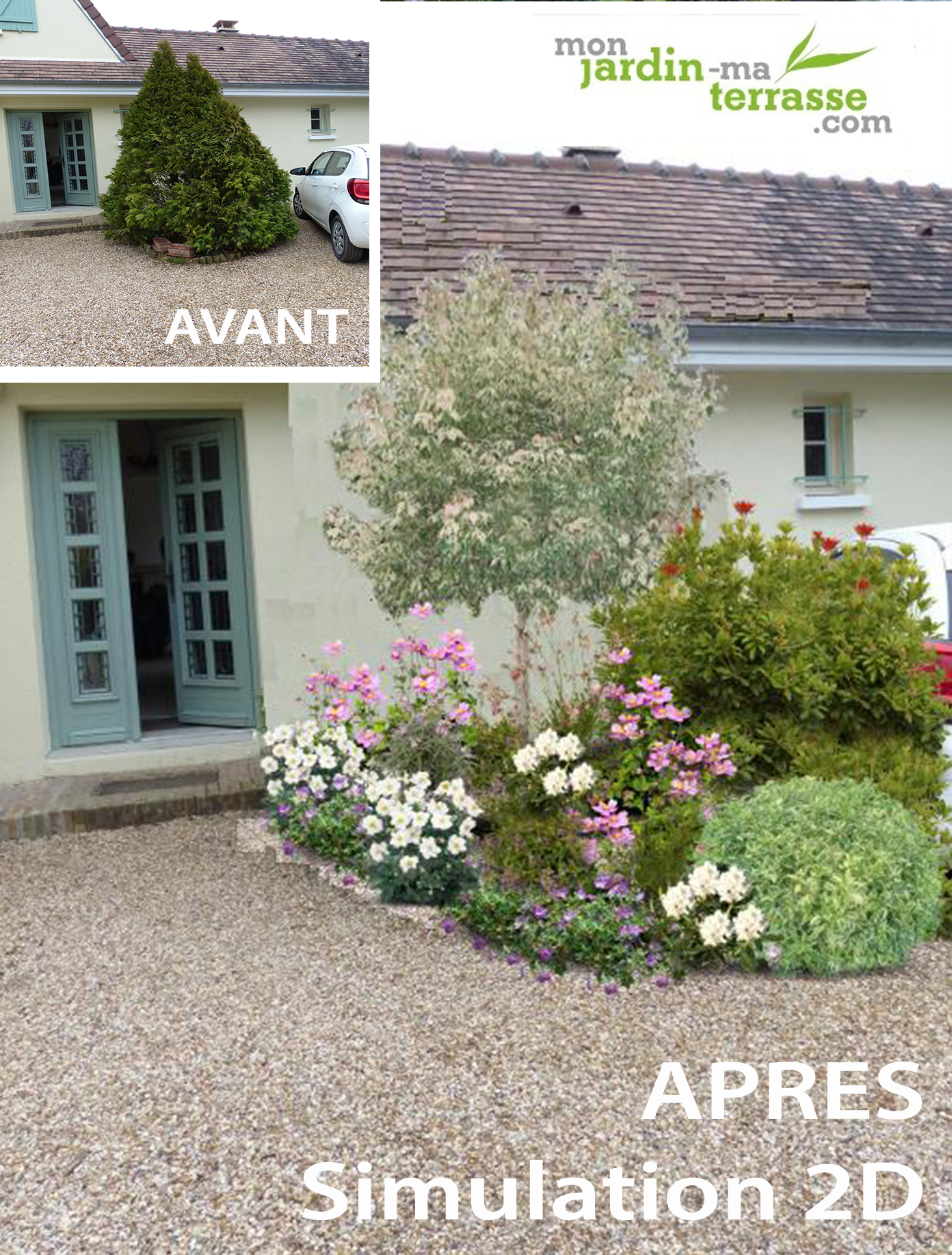 Am nagement d entr e ext rieur de maison monjardin for Amenagement entree de maison exterieur