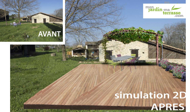 Cr er une terrasse dans un jardin monjardin for Creer une terrasse en bois
