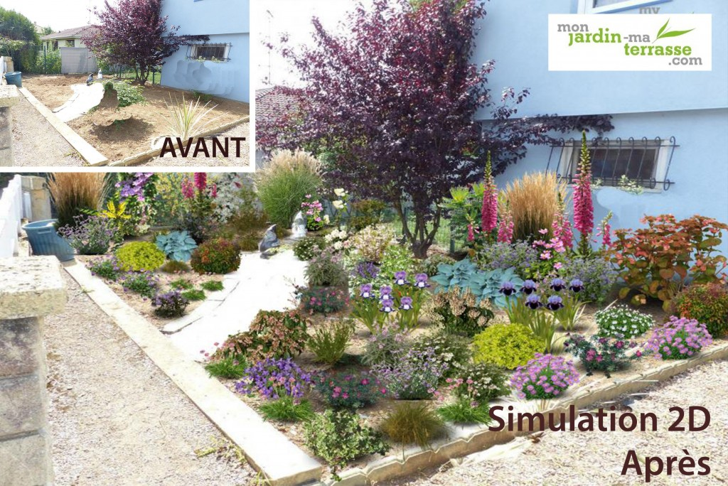 Massif de plantes monjardin for Amenagement massif devant maison